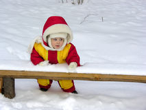 Baby stand. winter Stock Images