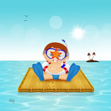 Baby with starfish on scuba mask Royalty Free Stock Image