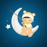 Baby the stars on the moon fishing Stock Photo