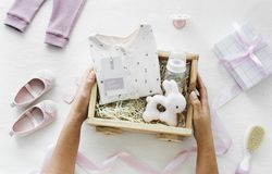 Baby starter kit gift box Stock Photos