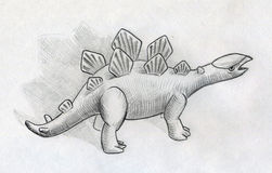 Baby stegosaurus. Hand drawn pencil sketch of a little stegosaurus cub Stock Images