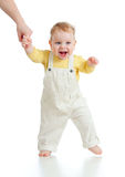 Baby steps first time studio shot Royalty Free Stock Image