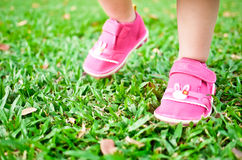 Baby steps on grass. Baby taking her small steps on green grass Royalty Free Stock Photography