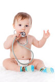 Baby with stethoscope. Sweet baby with stethoscope on a  white background Stock Photography