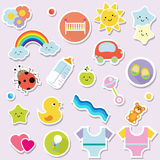 Baby stickers. Kids, children design elements for scrapbook. Decorative vector icons with toys, clothes, sun and other cute newbor