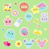 Baby stickers. Kids, children design elements for scrapbook. Decorative vector icons with toys, clothes, sun and other cute newbor. Baby stickers. Kids, children Royalty Free Stock Image
