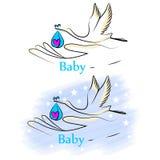 Baby_stork Иллюстрация штока