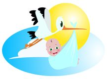 Baby and stork. A stork transporting newborn baby vector illustration Royalty Free Stock Images