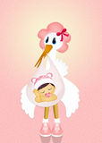 Baby stork. Funny illustration of baby stork Stock Photo