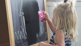 The baby in the striped dress is erasing the picture from the board