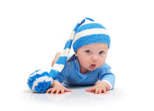 Baby in a striped hat Stock Photo