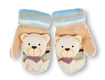 Baby striped mittens Royalty Free Stock Photos