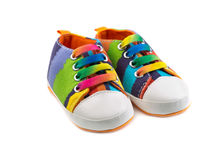Baby Striped Sneakers. Stock Image