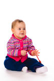 Baby in Stripy jacket Royalty Free Stock Image