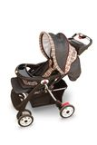 Baby Stroller. Empty baby stroller taken from a high perspective downward, isolated on a white background.  Clipping path included Royalty Free Stock Image