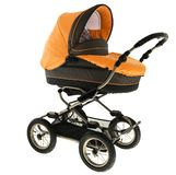 Baby stroller. Orange baby stroller isolated in a white background Stock Photos