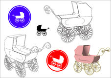 Baby stroller. Set of original drawings of baby stroller in retro design with signs and pictogram, vector Royalty Free Stock Photos