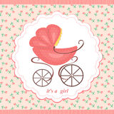 Baby stroller in abstract background pink flowers. Royalty Free Stock Photo