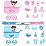 Baby in the stroller and baby icons set. Stock Photography