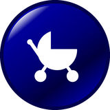 Baby stroller blue vector button Stock Images