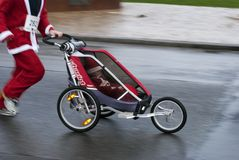 Baby stroller Christmas Stock Photos