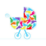 Baby stroller with colorful baby foot vector background Royalty Free Stock Photos