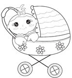 Baby stroller coloring page Stock Photography