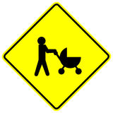 Baby stroller crossing sign Royalty Free Stock Image