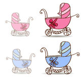 Baby stroller for girls and boys. Pink and blue Royalty Free Stock Photography
