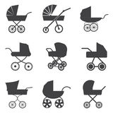 Baby stroller icons Stock Photography