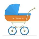 Baby stroller Isolated on white background. Cartoon pram illustrated. Stock Image