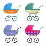 Baby stroller Isolated on white background. Cartoon pram illustrated. Baby stroller set Isolated on white background. Cartoon pram  illustration Royalty Free Stock Photo