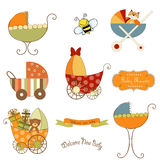 Baby stroller items set in vector format. Isolated on white background Stock Photos