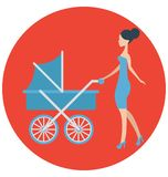 Baby stroller, mother That can be easily edited in any size or modified. royalty free illustration
