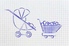 Baby in stroller next to shoping cart full of items Royalty Free Stock Photos