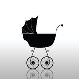 Baby stroller old black  Royalty Free Stock Photography