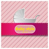Baby stroller on a pink background. Pink background with ribbon,and a stroller vector illustration