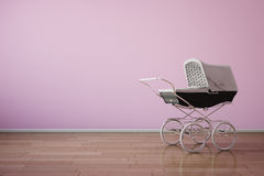 Baby stroller on pink wall. With wooden floor Royalty Free Stock Photography