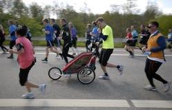 Baby stroller run Royalty Free Stock Image