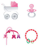 Baby stroller and toys Stock Photos