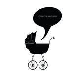 Baby stroller vector black illustration Stock Image