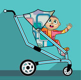 Baby in a stroller vector cartoon Stock Images