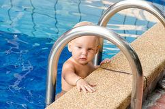 Baby study to swim. Little child on the swimming pool Royalty Free Stock Photography