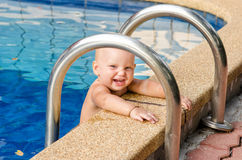 Baby study to swim. Little child on the swimming pool Stock Photography