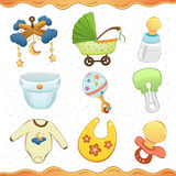 Baby stuff cartoon icon Collection. Illustration Of a Baby Stuff Icon Set Royalty Free Stock Images