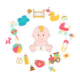 Baby Stuff Doodle Elements Set. Babies Infographics Vector Illus Royalty Free Stock Photo