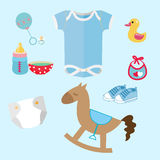 Baby stuff and toys icon set collection romper suit, cute toy, pacifier, dummy, baby s booties. Set of flat  isolated colorful illustrations Royalty Free Stock Photo