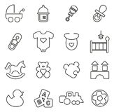 Baby Stuff & Baby Toys Icons Thin Line Vector Illustration Set Royalty Free Stock Photos