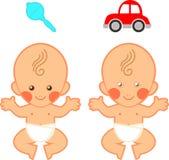 Baby + stuk speelgoed klemart. vector illustratie
