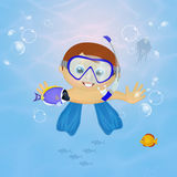 Baby sub snorkeling Stock Images